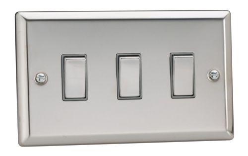 Varilight XC93D Classic Mirror Chrome 3 Gang 10A 1 or 2 Way Rocker Light Switch (Twin Plate)